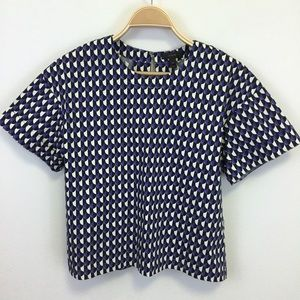 J. Crew Geometric Print White Black Blue Blouse 4